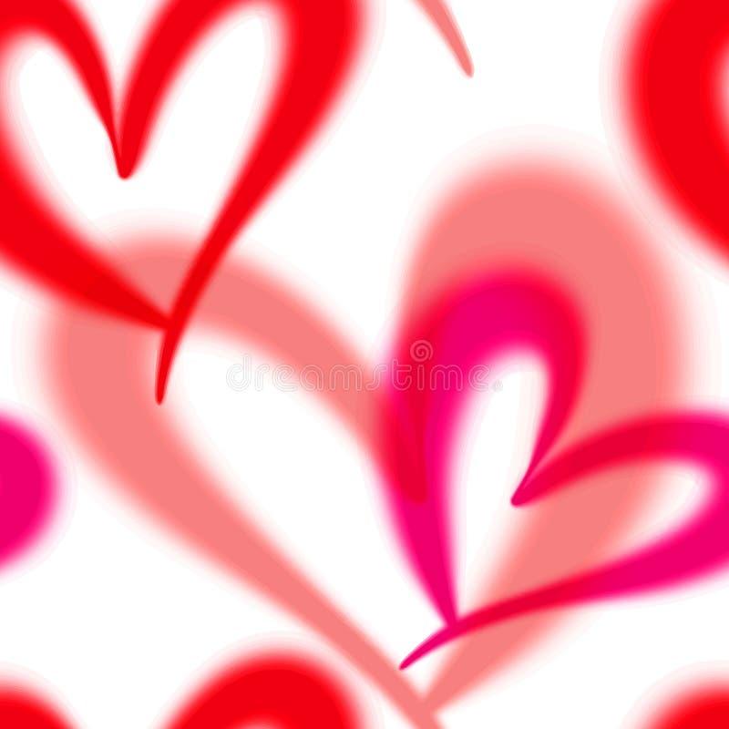 模式无缝的向量 与心脏的背景 与红色和桃红色口气的浪漫背景 库存例证