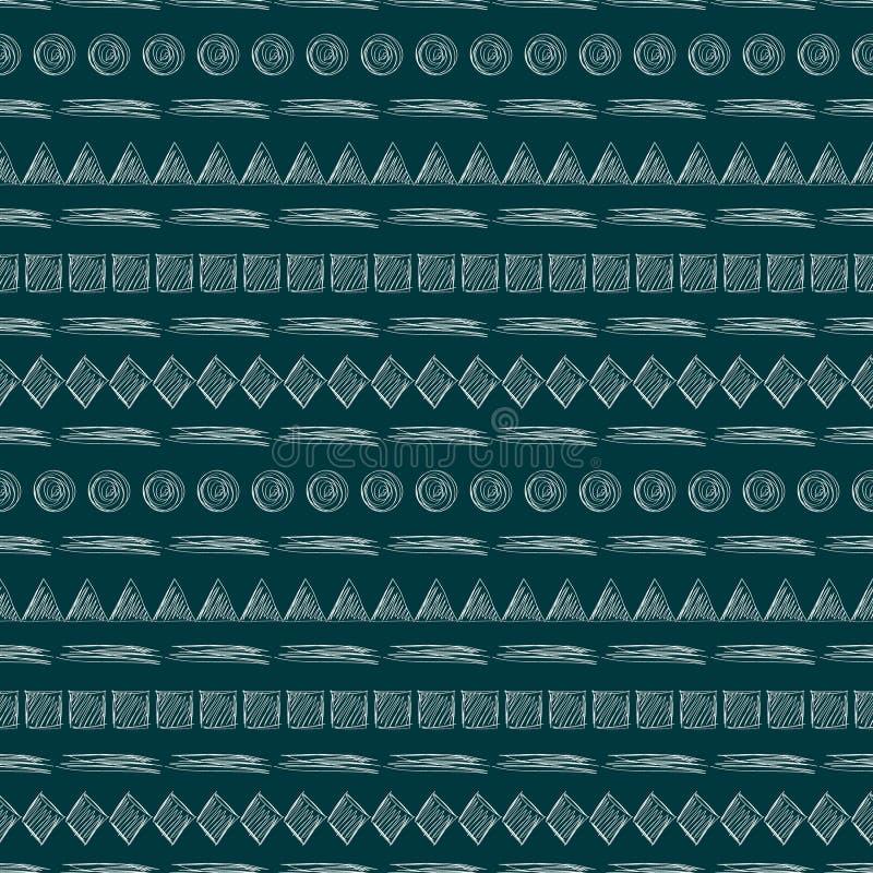 模式无缝的向量 与手拉的三角,正方形,菱形,线,圈子的几何背景 简单的设计 皇族释放例证