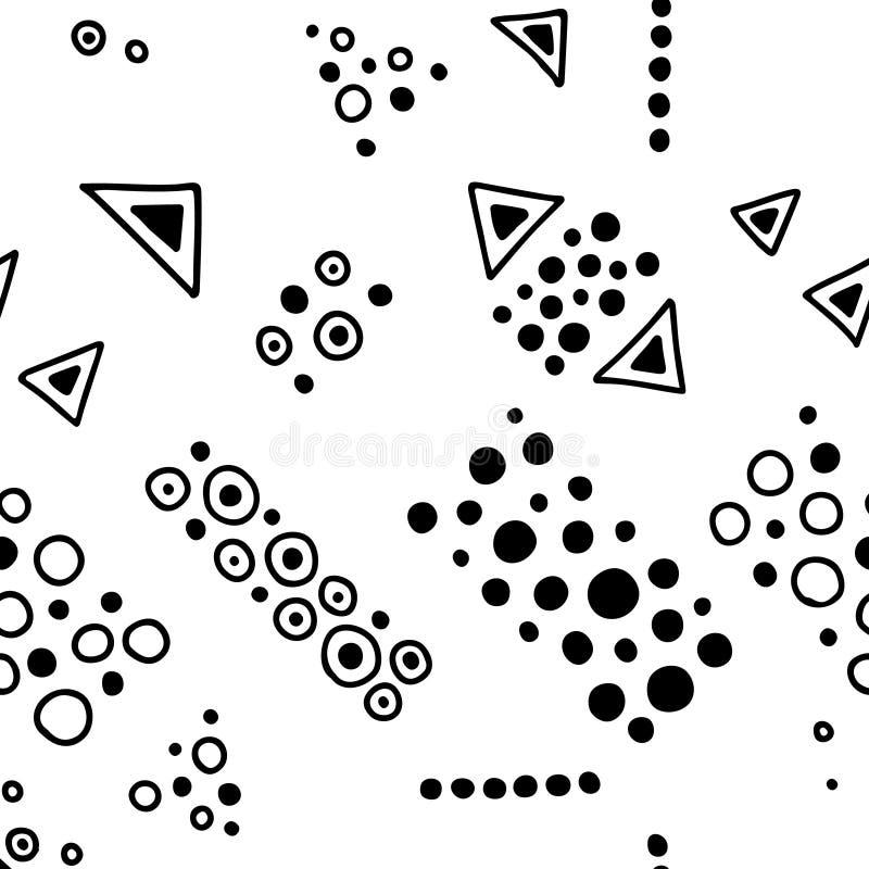模式无缝的向量 与手拉的装饰部族元素的几何背景 与种族的印刷品,民间,传统 库存例证