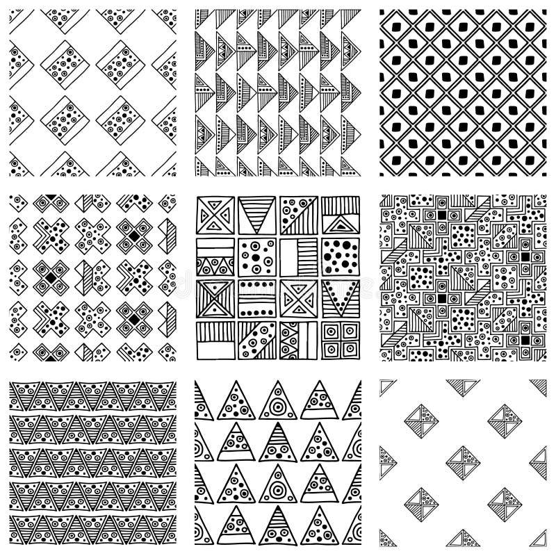 模式无缝的向量 与手拉的装饰部族元素的黑白几何背景 与种族, fol的印刷品 皇族释放例证