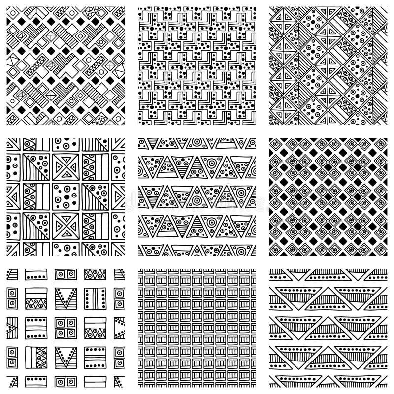 模式无缝的向量 与手拉的装饰部族元素的黑白几何背景 与种族, fol的印刷品 库存例证
