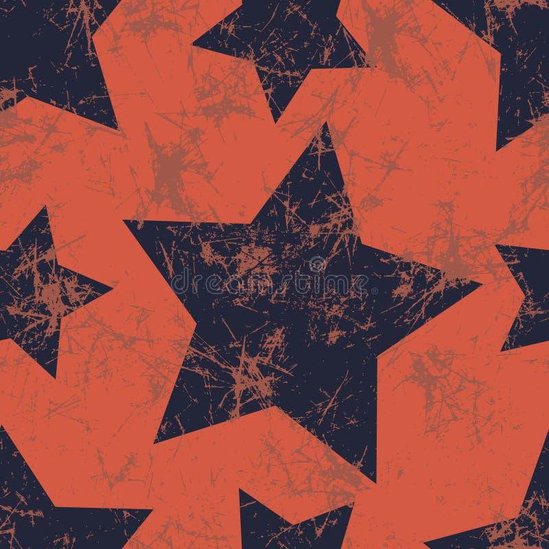 模式无缝的向量 与星的创造性的几何蓝色和红色背景 向量例证