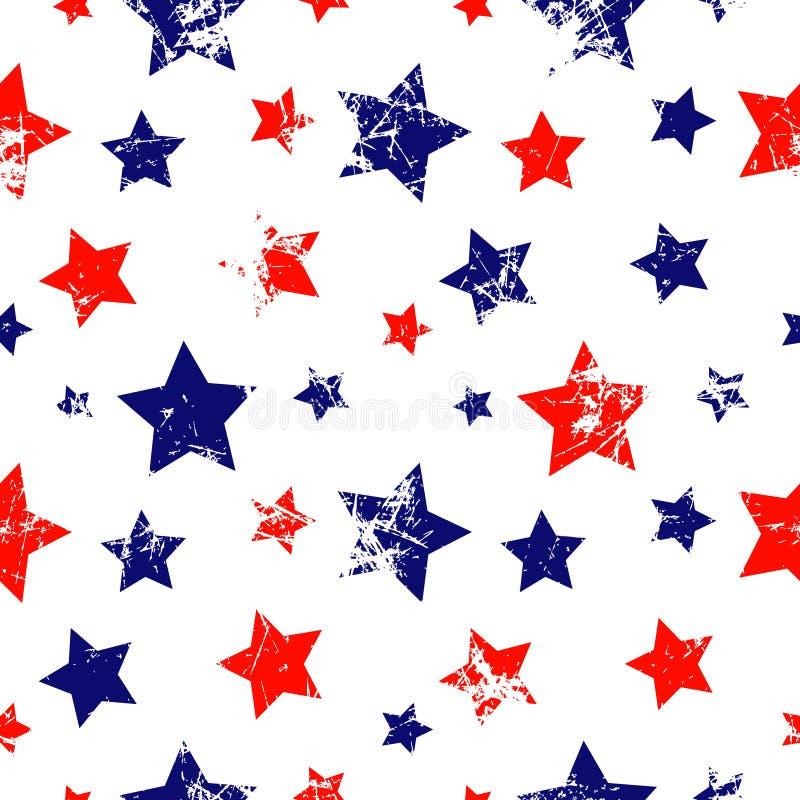 模式无缝的向量 与星的创造性的几何蓝色,红色和白色背景 库存例证