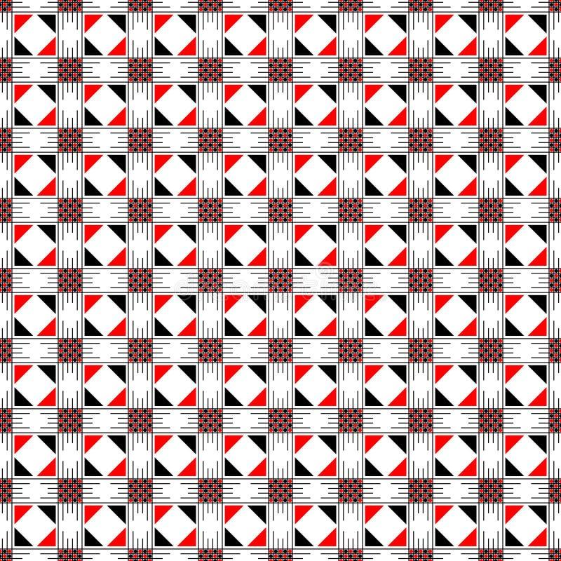 模式无缝的向量 与正方形、长方形和线的对称几何抽象背景在黑,白色,红颜色 皇族释放例证