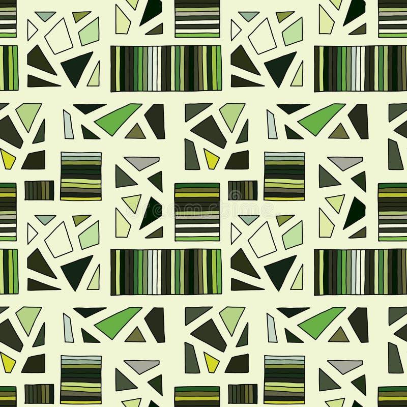 模式无缝的向量 与长方形,正方形,小点的绿色几何手拉的背景 背景的,墙纸印刷品, 向量例证