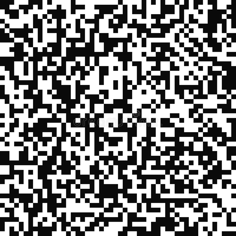 模式无缝的向量 任意映象点纹理 黑白背景 单色QR代码设计 库存例证