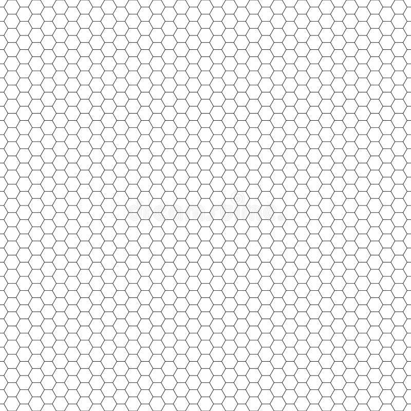 模式无缝的向量 六角形栅格纹理 黑白背景 单色蜂窝设计 向量例证