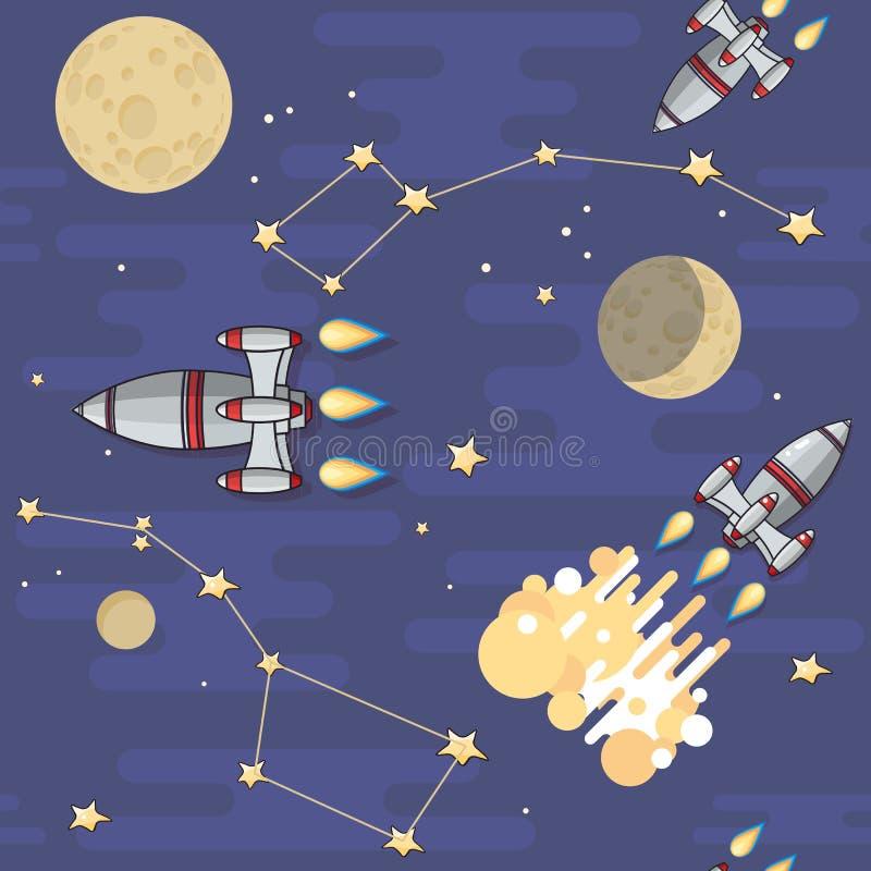 模式无缝的向量 动画片太空火箭,星,行星 库存例证