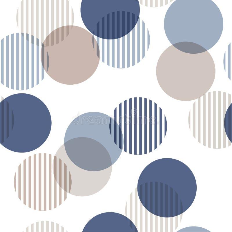 模式无缝的向量 单调蓝色和米黄抽象backgr 皇族释放例证