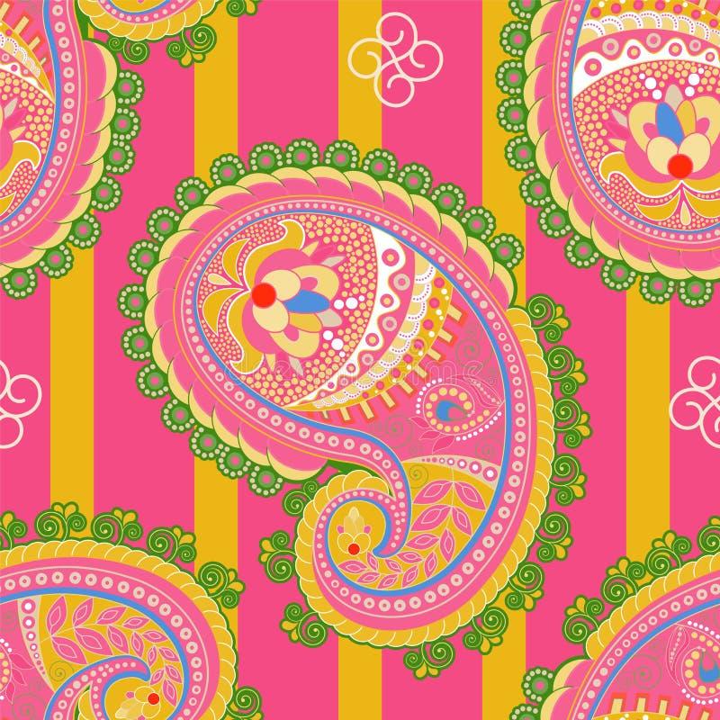 模式无缝的向量 印地安花饰 五颜六色的装饰墙纸 佩兹利和植物 也corel凹道例证向量 库存例证