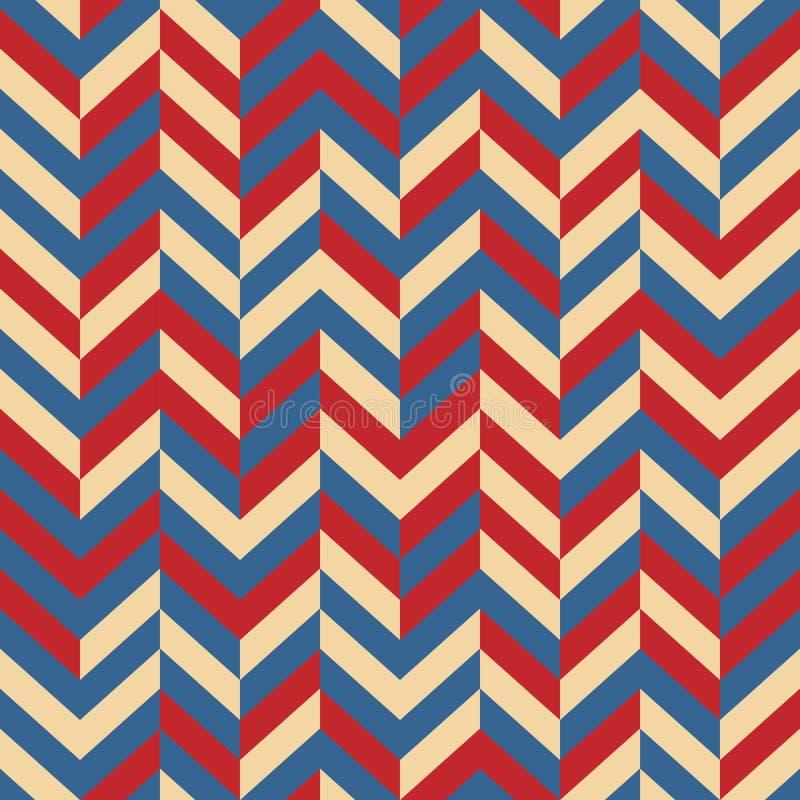 模式无缝的向量 在红色传统美国的颜色的抽象欢乐设计背景概念-,白色,蓝色 现代铁笔 皇族释放例证