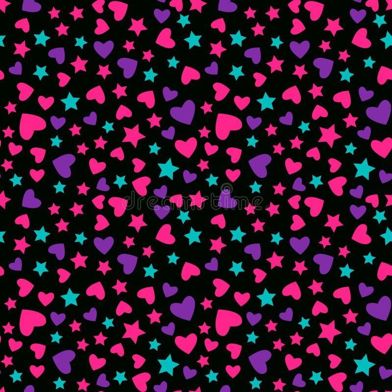 模式无缝的向量 孩子女孩的现代明亮的设计 抽象心脏和星在黑背景 皇族释放例证