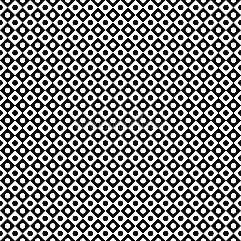 模式无缝的向量 抽象几何纹理 黑白背景 在方形的设计的单色圈子 向量例证