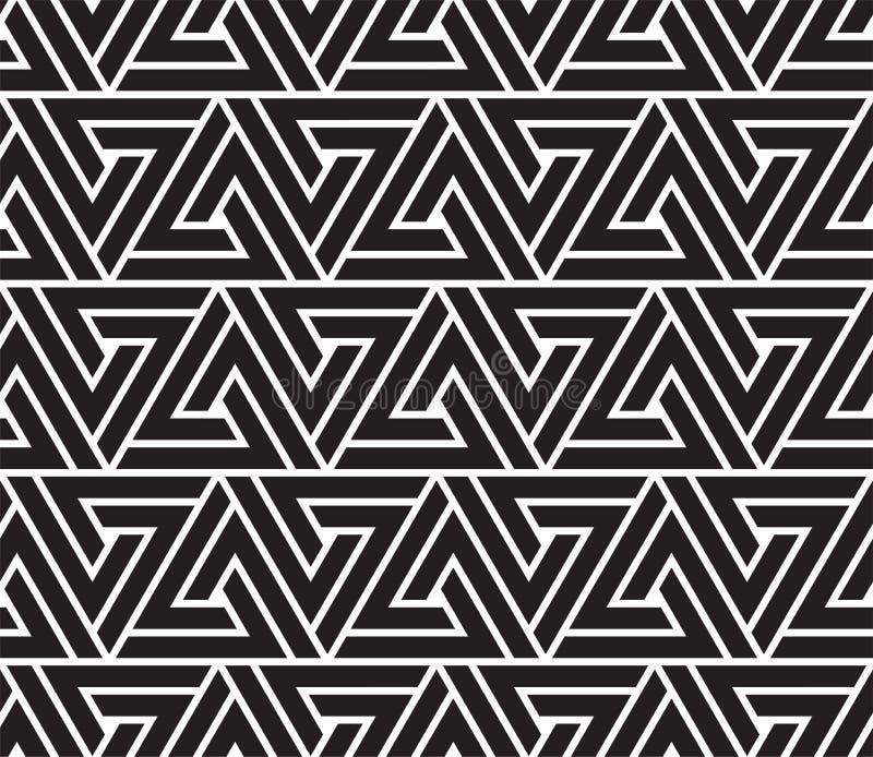 模式无缝的向量 现代时髦的抽象纹理 重复从镶边元素的几何盖瓦 库存例证