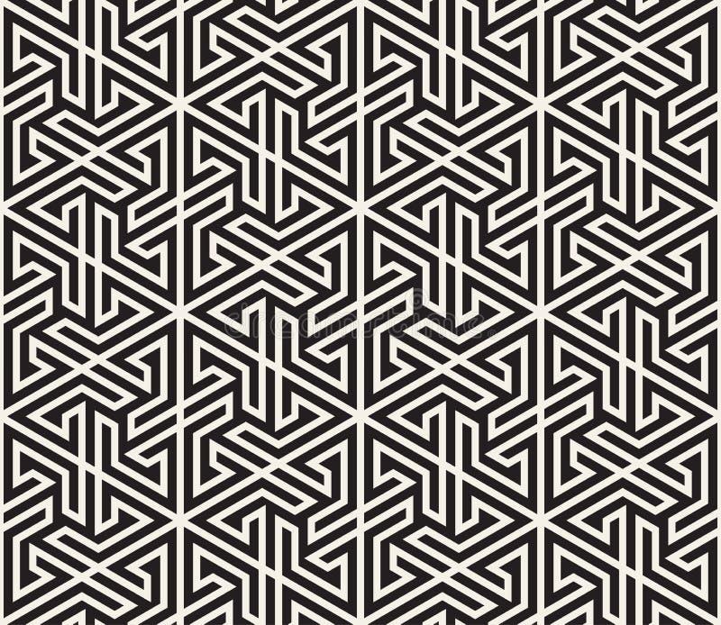 模式无缝的向量 现代时髦的抽象纹理 重复从镶边元素的几何盖瓦 皇族释放例证
