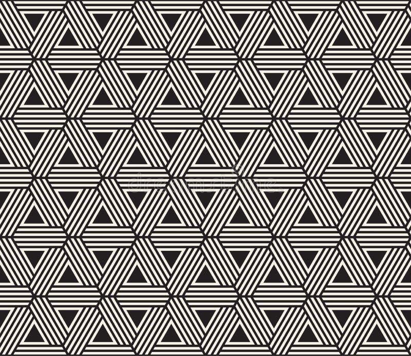 模式无缝的向量 现代时髦的纹理 重复从镶边三角元素的几何盖瓦 免版税库存图片