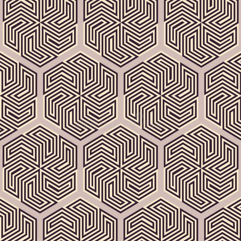 模式无缝的向量 现代时髦的纹理 重复有六角形的几何瓦片 雪佛元素形式时髦的tileable p 库存例证