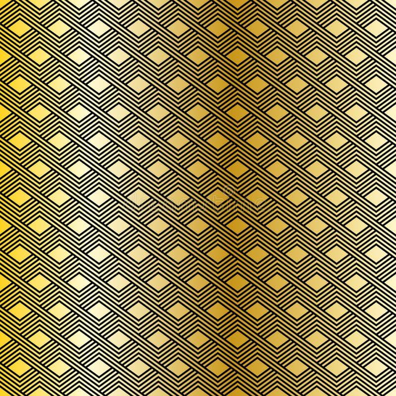 模式无缝的向量 现代时髦的线性纹理 重复有梯形元素的几何瓦片 向量例证