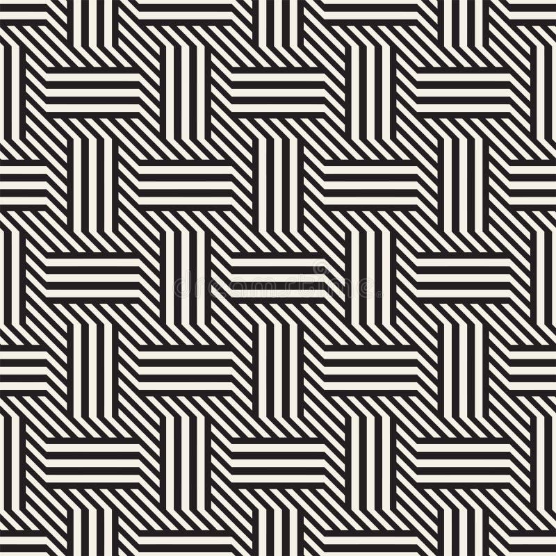 模式无缝的向量 现代时髦的隔行扫描排行纹理 几何镶边装饰品 皇族释放例证