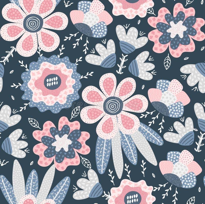 模式无缝的向量 用不同的纹理的抽象手拉的花 所有所有构成要素花卉例证各自的对象称范围纹理导航 徒手画的样式 皇族释放例证