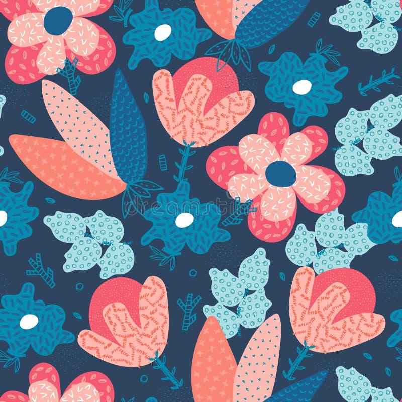 模式无缝的向量 用不同的纹理的抽象手拉的花 所有所有构成要素花卉例证各自的对象称范围纹理导航 徒手画的样式 库存例证