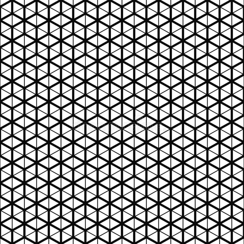 模式无缝的向量 立方体栅格纹理 黑白背景 单色线设计 库存例证