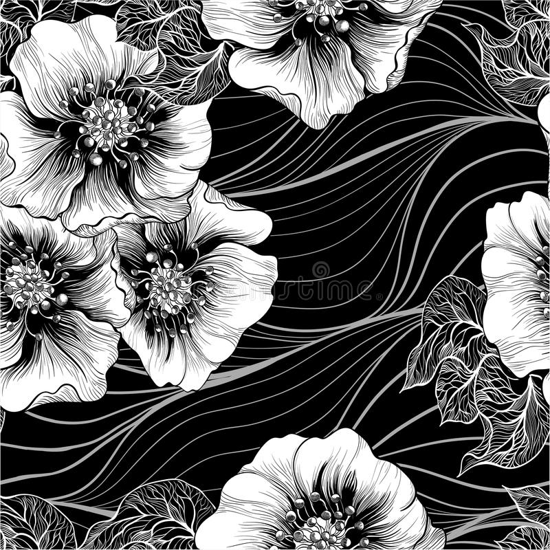 模式无缝的向量 背景样式-花卉主题 花 使用铅印材料,标志,项目,网站,地图,海报 库存例证
