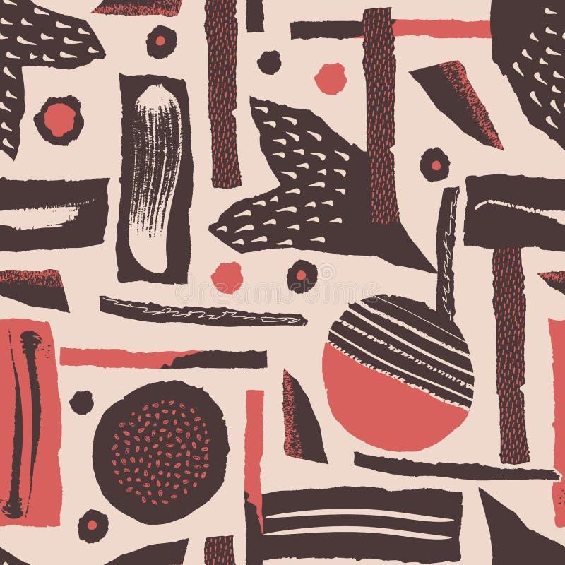 模式无缝的向量 被撕毁的纸装饰了油漆和墨水斑点 与概略的有肋骨和接合的边缘的不同的形状 库存例证