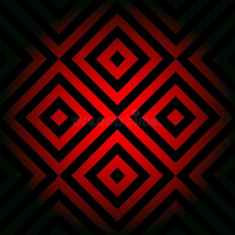 模式无缝的向量 装饰元素,设计模板与镶边黑和红色对角倾斜的线 背景 向量例证