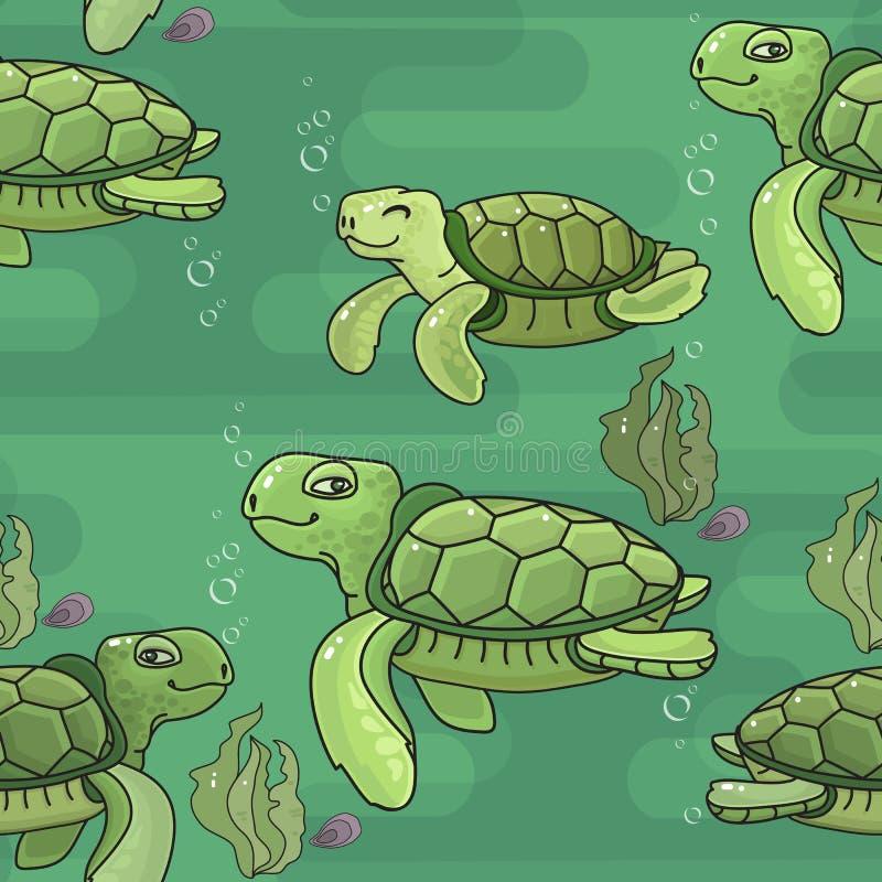 模式无缝的向量 逗人喜爱的动画片绿浪乌龟 皇族释放例证