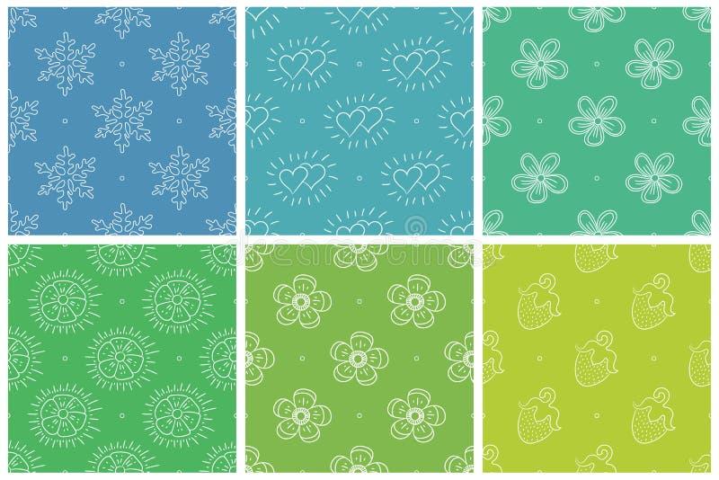 模式无缝的向量 雪花,心脏,花,草莓 绿色和蓝色背景 冬天、夏天和春天 库存例证