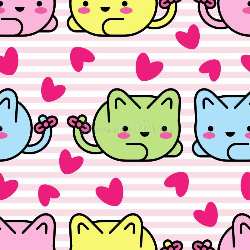 模式无缝的向量 Kawaii背景 逗人喜爱的动画片猫 库存例证