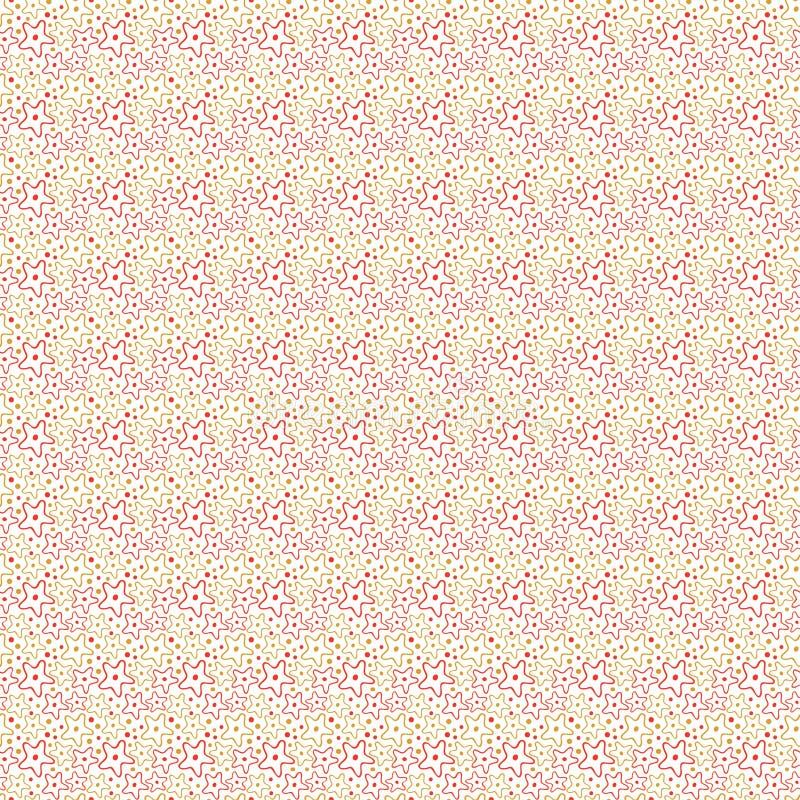 模式无缝的星形 生日包装纸 孩子简单的纺织品设计 库存例证