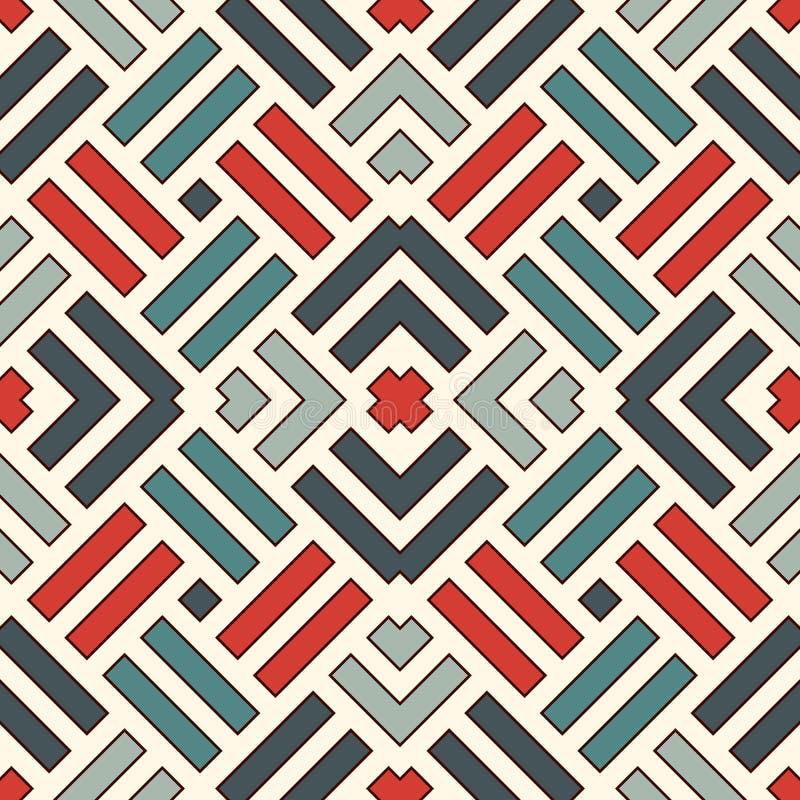 模式无缝的柳条 方平组织主题 与重叠的条纹的淡色几何抽象背景 皇族释放例证