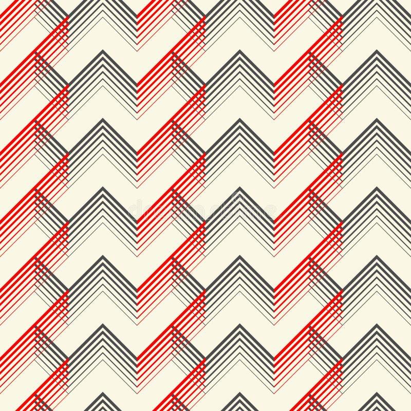 模式无缝的格子呢 传染媒介黑和红色被编织的背景 皇族释放例证