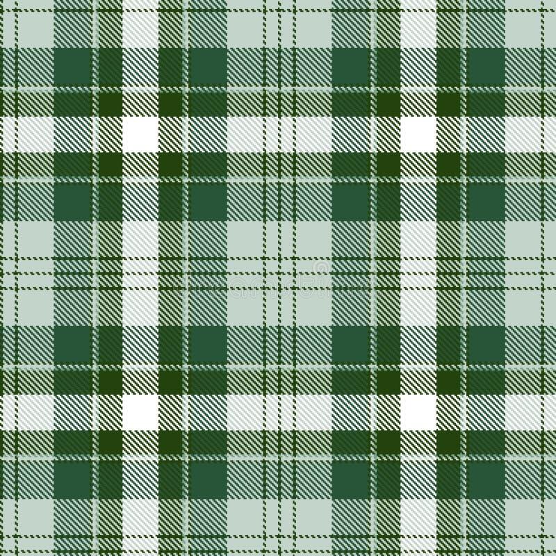 模式无缝的格子呢 绿色和白色格子花呢披肩 格子呢法绒背景 皇族释放例证