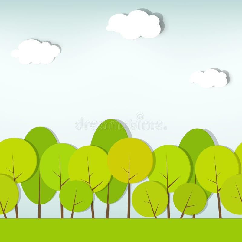 模式无缝的灌木结构树向量 向量例证