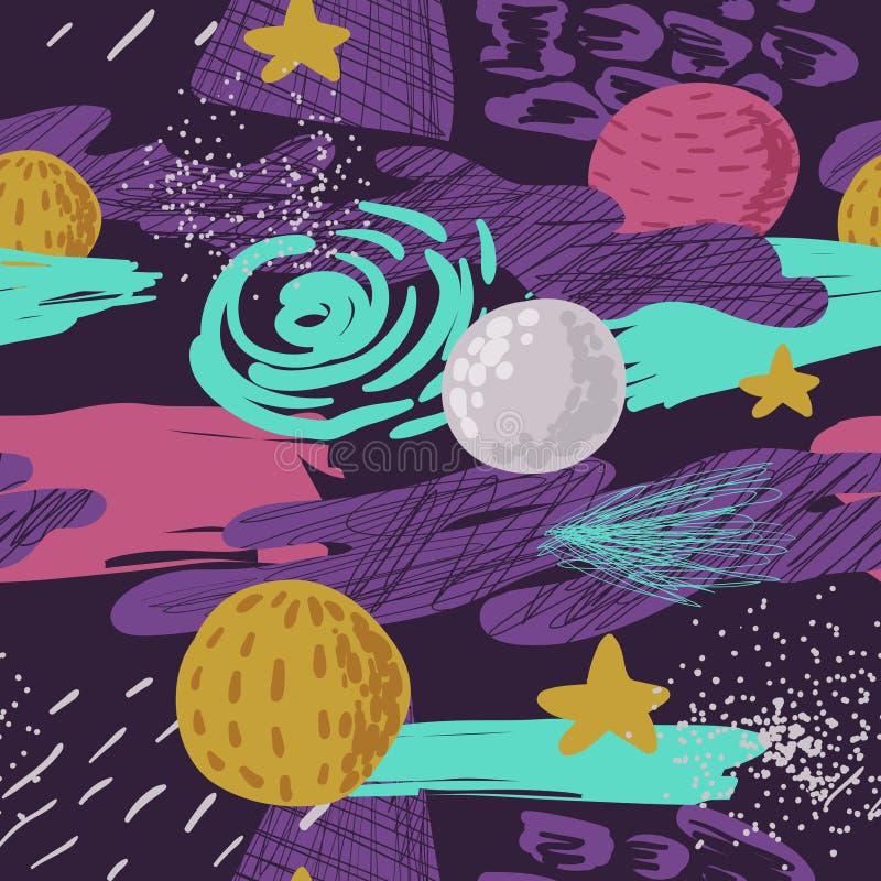 模式无缝的空间 与行星、星和抽象元素的幼稚宇宙背景 婴孩徒手画的乱画 库存例证