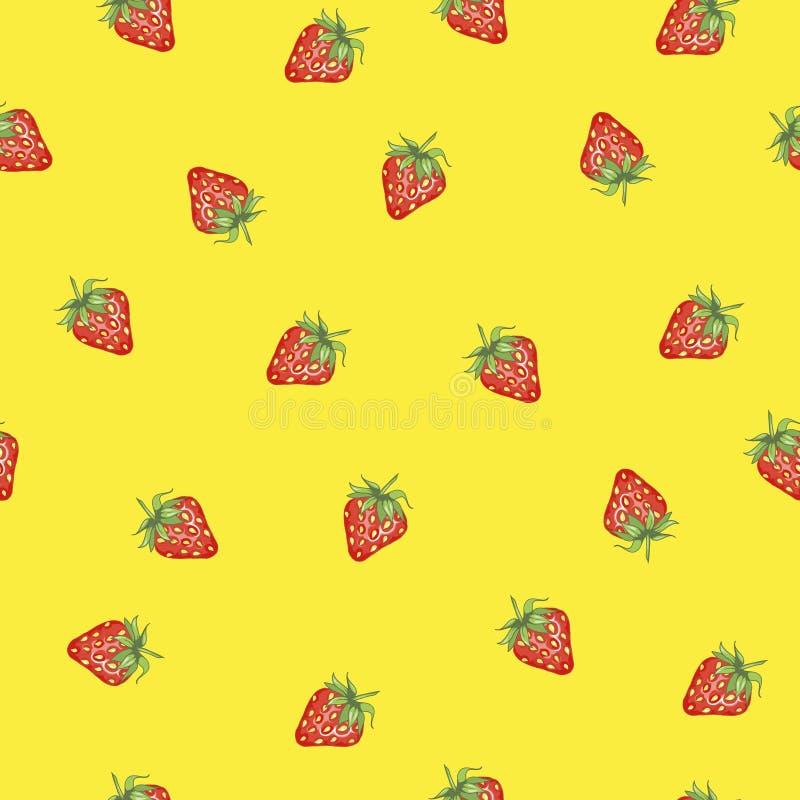 模式无缝的草莓 夏天传染媒介背景 向量例证