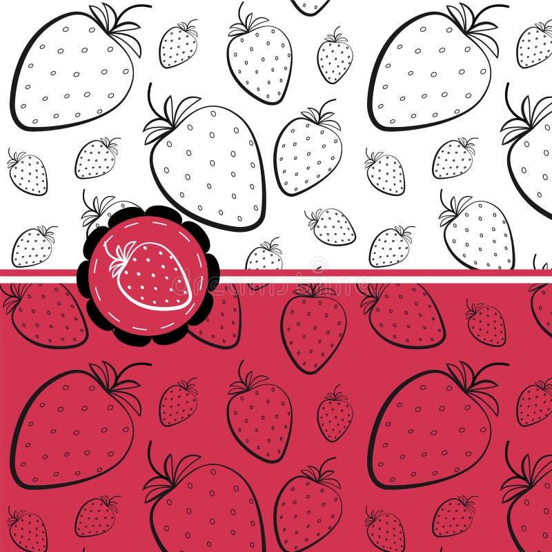 模式无缝的草莓 向量例证