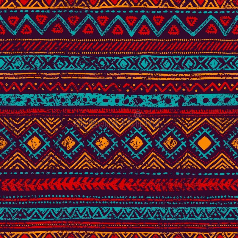 模式无缝的葡萄酒 脏的纹理 种族和部族moti 库存例证