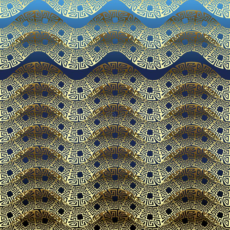 模式无缝的通知 希腊传染媒介装饰3d背景 华丽重复波浪线背景 波浪边界 希腊关键河曲 库存例证