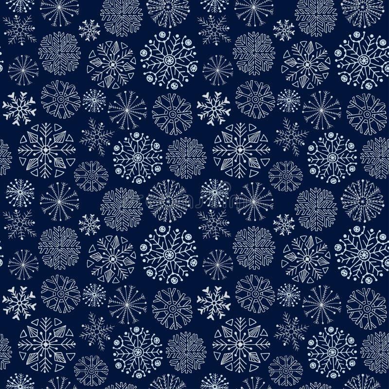 模式无缝的雪花 背景黑暗冬天 库存例证