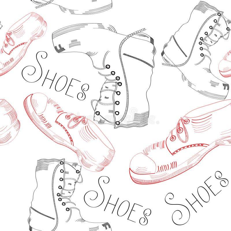 模式无缝的鞋子 向量例证