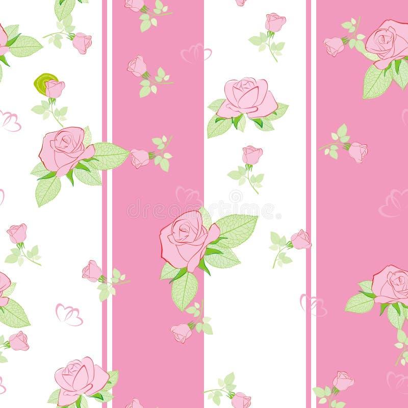 模式无缝粉红色的玫瑰 皇族释放例证