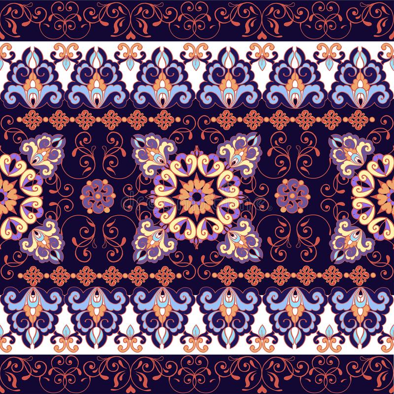 模式无缝镶边 0 8可用的eps花卉版本墙纸 五颜六色的装饰边 织品的,纺织品装饰装饰品 库存例证