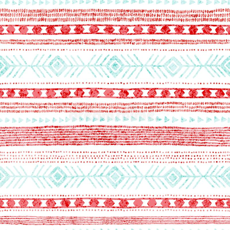 模式无缝镶边 种族和部族主题 葡萄酒印刷品,难看的东西纹理 简单的装饰品 手工制造 白色、桃红色和蓝色 皇族释放例证