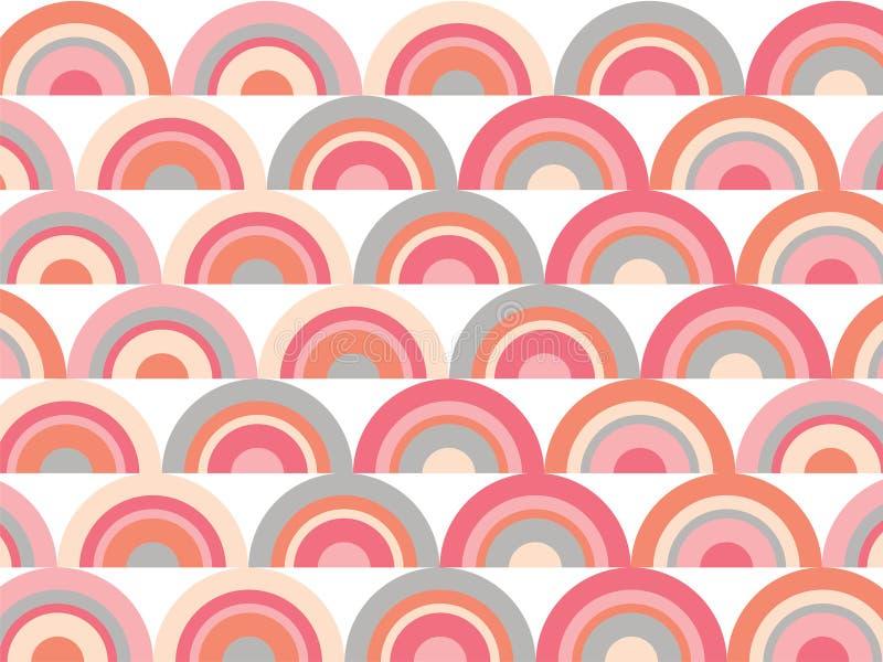 模式桃红色彩虹减速火箭的扇贝 向量例证