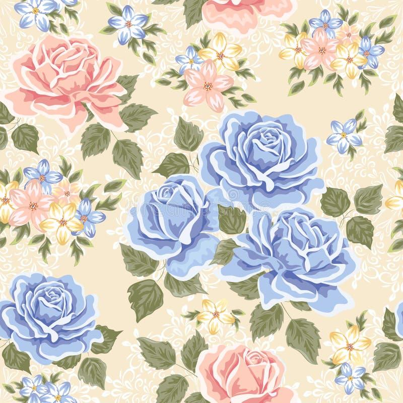 模式玫瑰无缝的墙纸 向量例证