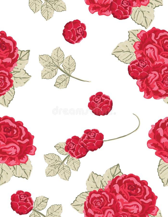 模式红色玫瑰无缝的葡萄酒 库存照片